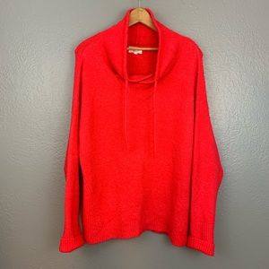 Lou & Grey Red Fuzzy Cowl Drawstring Sweater